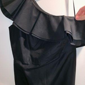 NWOT One shoulder black cocktail dress- silk like